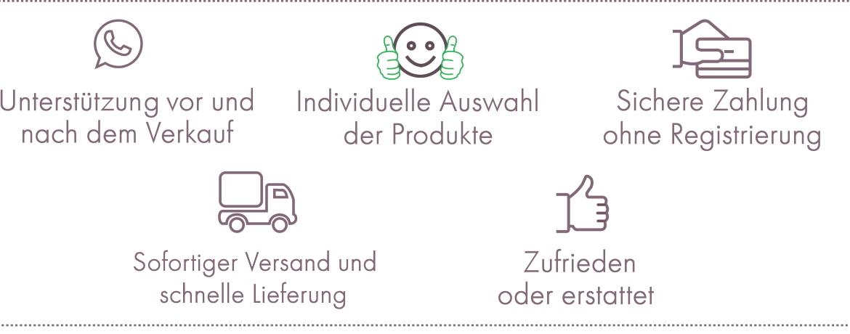 Unterstützung vor und nach dem Verkauf - Individuelle Auswahl des Modells - Sichere Zahlung ohne Registrierung - Kostenloser Versand und sofortige Lieferung - Zufrieden oder erstattet
